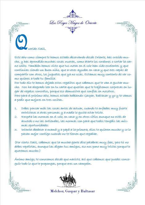 Carta de los Reyes a los niños